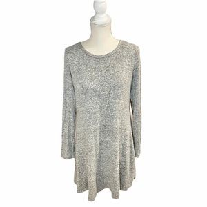 Grey Sweater Dress with Elbow Patches